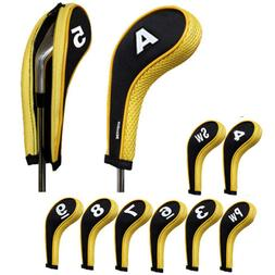 Andux Golf Club Headcovers Head Cover Iron Protect with Zipp