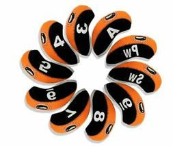 Andux Golf Club Iron Cover 10 pieces set Black/Orange MT / S