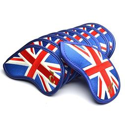 COOLSKY Golf Club Iron Head Covers UK Flag Pattern Thick Pu