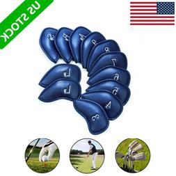 Golf Club Iron Head Covers 12 Pcs Headcovers PU Leather Fit