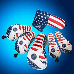 GOLF Driver Headcover Hybrid Head Cover USA Flag For Taylorm