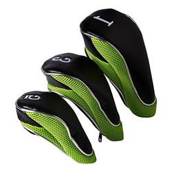 Andux Golf Driver Wood Head Covers Zipper Closure Set of 3
