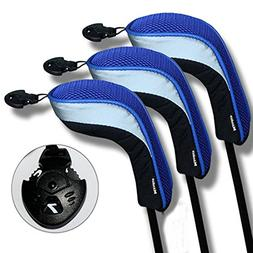 Andux 3 Pack Andux Golf Hybrid Club Head Covers Interchangea