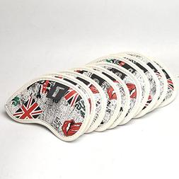 GOOACTION Golf Iron Club 10pcs British flag Synthetic Leathe