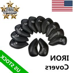 Golf Iron Head Covers Set Leather 12 Pcs Fits Callaway Ping