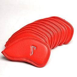 COOLSKY 10pcs Golf Iron Club Red PU Synthetic Leather Golf H