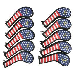 Golf Iron Covers Set USA Flag Design with Embroidered Gold C