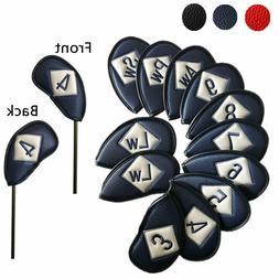 Golf Iron Head Cover Set 12 Pcs Universal Iron Covers Embroi