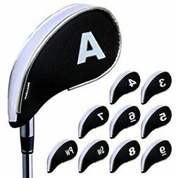 Andux golf iron head cover w/fastener 10 pieces Set White/Bl