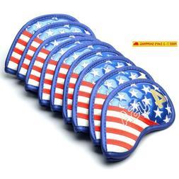 Gooaction Golf Iron Head Covers 9Pcs/Set Usa America Stars A