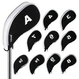Andux Golf Iron Head Covers Zipper 10pcs/set MT/YB03 Black/w