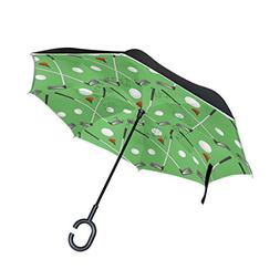 golf pattern reverse umbrella folding