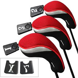 Andux Golf Wood Driver Head Covers Interchangeable No. Tag 3