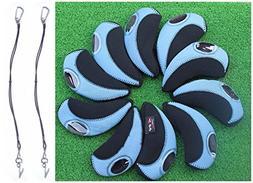 A99 Golf H09 Iron Head Covers 10pcs Black/Light Blue + 2pcs