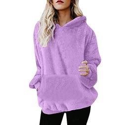 FEITONG Womens Hooded Sweatshirt Coat Winter Warm Plush Pock