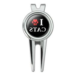 I Love Cats Heart with Paw Print Golf Divot Repair Tool and