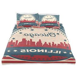 Franzibla Illinois State Chicago Skyline Kids Bedding Duvet
