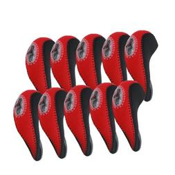 Elixir Golf Unisex Iron Head Covers , Black/Red