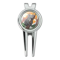 Koala Resting on Eucalyptus Tree Golf Divot Repair Tool and