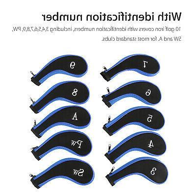 10 Piece Golf Head - Plus SW PW Universal Iron Covers