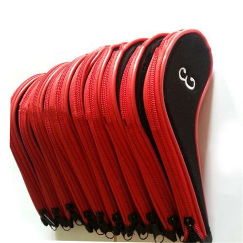 10Pcs/set Red/Black Neoprene Golf Club Iron Head Covers with Zipper