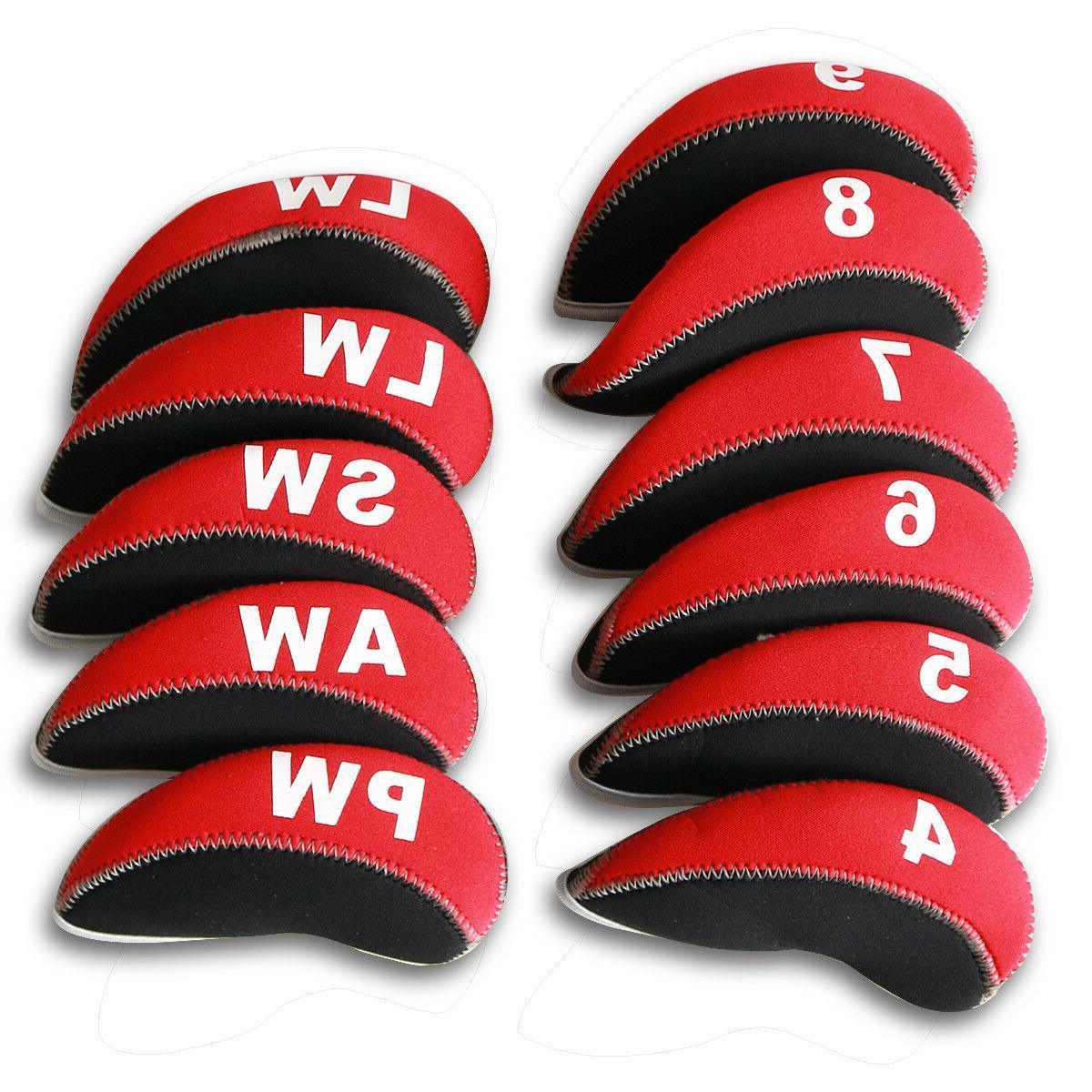 11pcs Iron Head Covers HeadCovers 4-LW Red&Black Cobra