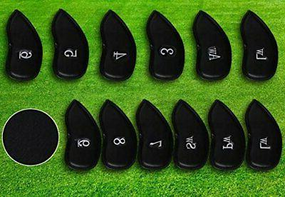 12pcs Thick Leather Golf Iron Head Set Headcover Brands