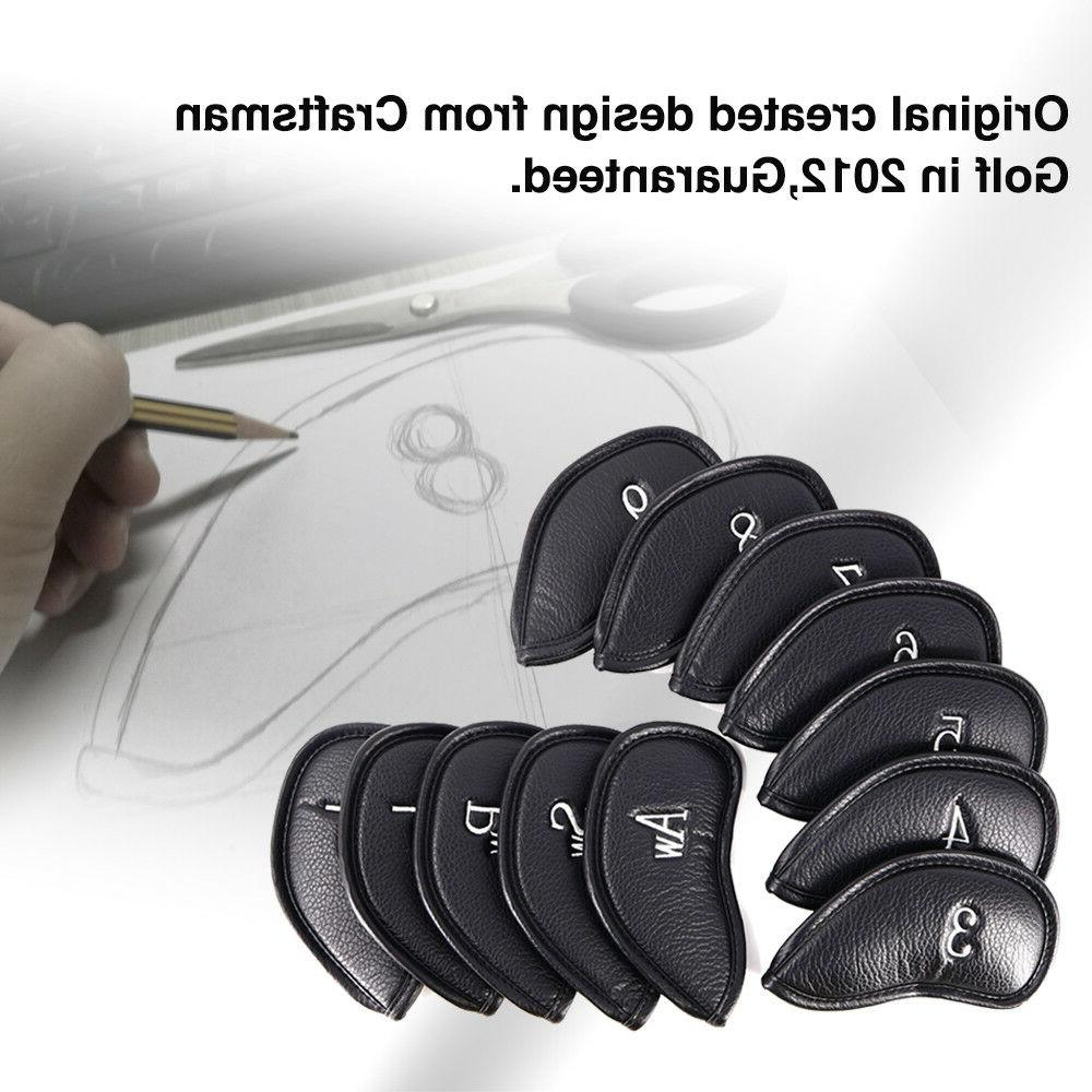 Craftsman Golf 12pcs Pu Leather Iron Head Covers Set Headcov