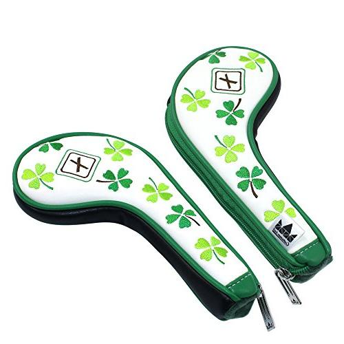 Craftsman 9pcs Clover Shamrock Headcovers Head Left Zipper For Taylormade