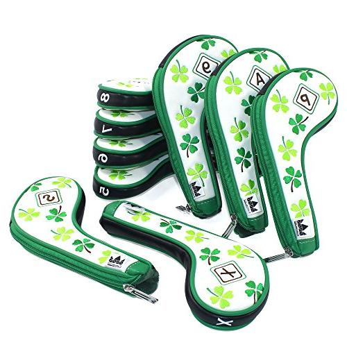 Craftsman Golf 9pcs Clover Shamrock White Golf Headcovers Suitable for Right Left For Taylormade