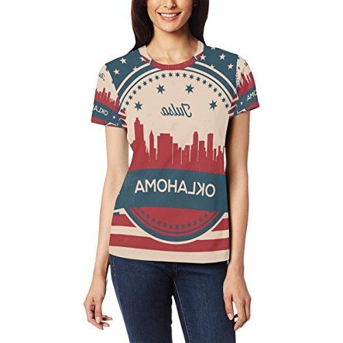 Franzibla Vintage American Flag Oklahoma State Tulsa Skyline