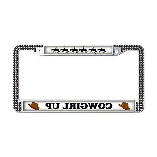 cowgirl up license plate frame black rhinestones