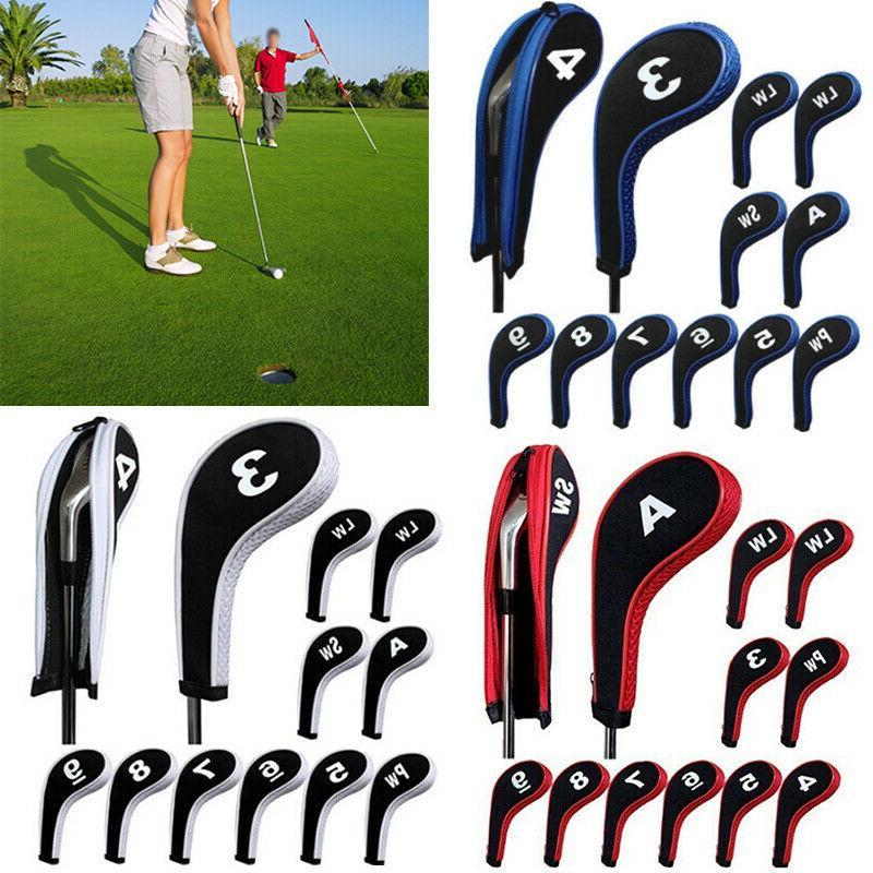 12Pcs/Set Number Print Golf Club Iron Head Cover With Zipper