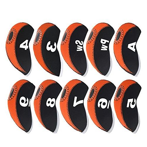BROTOU Golf Club Covers, 3-9 Elastic Neoprene with Number Tag for Irons,Fit Most Wedges-Set of