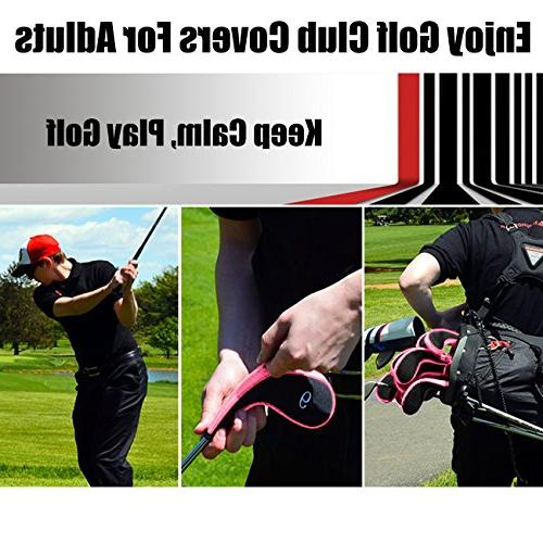 Aree Golf Club Head Covers,Zippered Driver Headcovers Golf Clubs Iron Covers with 10Pcs