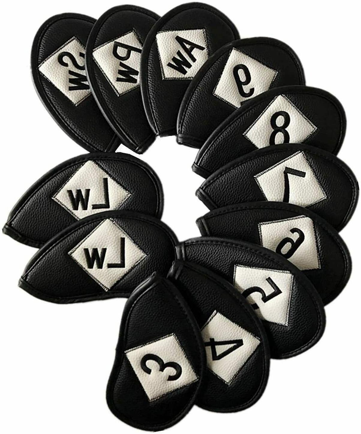 Golf Covers Set Leather Irons Club Headcovers US Stock