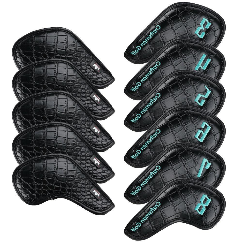 Golf Iron Leather Head Covers 11pcs Club Set Headcovers for