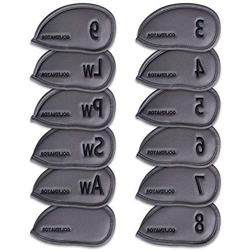 Golfinator Leather Iron Head 12 Set 25 Tees - Headcovers Numbers - : Drills Improve Your