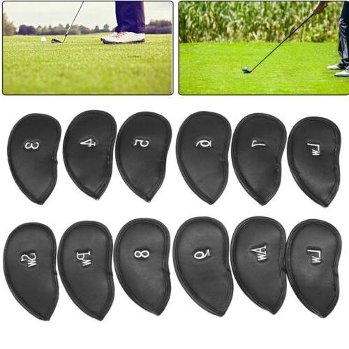 12 Leather Golf Iron Head Covers Club Putter Headcovers Set US