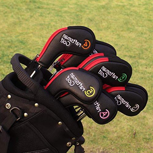 Craftsman 11pcs /Set Synthetic Leather Black Red Titleist Callaway Ping Zipper