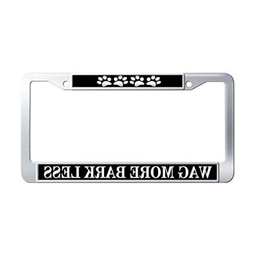 wag more bark less license plate frame