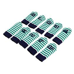MagiDeal 10 Pieces Durable Knitted Velvet Golf Iron Head Cov