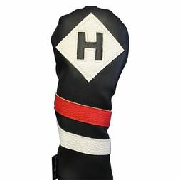 Majek Retro Golf Hybrid Headcover Black Red White Vintage Le