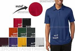 Mens TEXTURED Polo Sport Shirt Moisture Wicking Dri Fit Golf