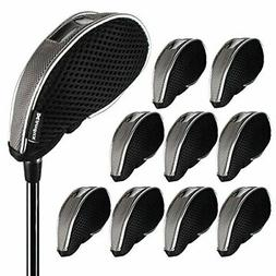 Andux Mesh Golf Iron Head Covers Windows 10pcs/Set 01-YBMT-0