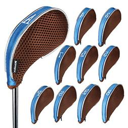 Andux Mesh Golf Iron Head Covers Zipper Left Right Handed 10