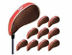 Andux Mesh Golf Iron Headcover 10 pieces with Fastener red /