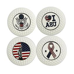 Metal White Magnetic Golf Poker Chip Ball Markers, 4 Count