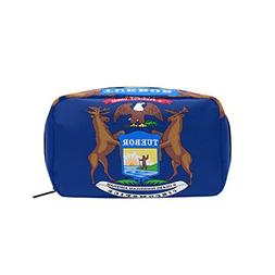 Michigan State Flag Makeup Bags Multi Compartment Pouch Stor