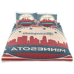 Franzibla Minnesota State Minneapolis Skyline Kids Bedding D